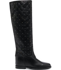 paul warmer studded leather boots - black