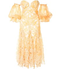 acler off-the-shoulder holland dress - yellow
