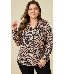 blusa de rayas de cebra color caqui de talla grande yoins