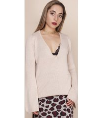 sweter z dekoltem w szpic beżowy