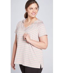 lane bryant women's livi french terry hoodie - striped 10/12 hot stripe