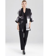 natori brushstroke crepe kimono sleep/lounge/bath wrap/robe, women's, black, size s natori
