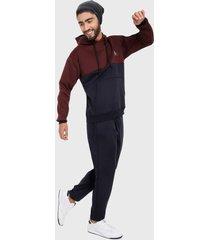 sudadera para hombre conjunto hoodie vinotinto y azul corte inglés
