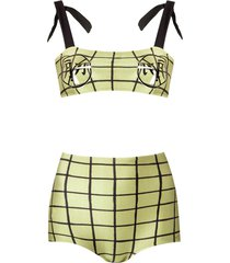 adriana degreas grid print bikini set - green