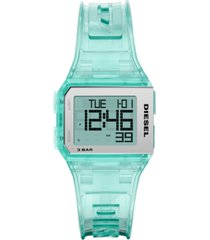 diesel men's digital chopped green polyurethane strap watch 38mm