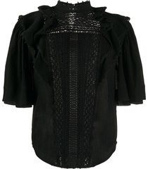 isabel marant lace-insert fluted-sleeve blouse - black