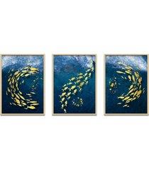 quadro 60x120cm urak peixe dourado decorativo moldura natural com vidro
