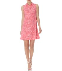 anne klein print collared sleeveless trapeze dress, size medium in camellia/anne white combo at nordstrom