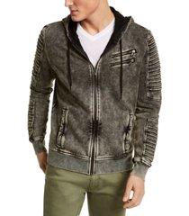 inc men's big & tall zip-front moto hoodie, created for macy's