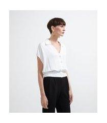 blusa em crepe com abotoamento frontal | cortelle | branco | g