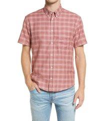 men's billy reid kirby slim fit plaid short sleeve button-down shirt, size small - purple