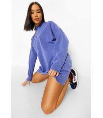oversized overdye hoodie jurk, indigo