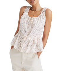 women's madewell bright buds drawstring gathered tank top, size large - white
