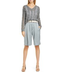 women's brunello cucinelli pleated sateen bermuda shorts