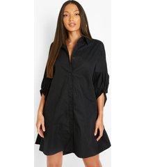 tall oversized blouse jurk met vleermuismouwen, black