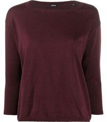 aspesi relaxed knit top - red