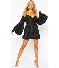 taffeta oversized sleeve off the shoulder dress, black