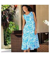 cotton batik dress, 'bali blue' (indonesia)