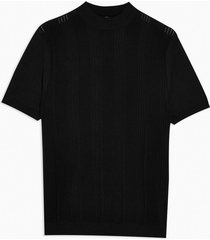 mens black stitch turtle neck knitted t-shirt