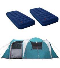 barraca camping nautika arizona gt 9/10 pessoas + 2 colchões solteiro inflável zenite