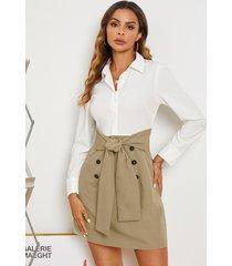 vestido camisero de manga larga con diseño de corbata y botones delanteros yoins