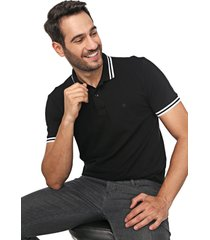 camisa polo forum reta frisos preta - preto - masculino - algodã£o - dafiti