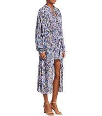 wye floral high-low blouson maxi dress