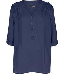 tunica in georgette a maniche lunghe con scollo a v (blu) - bpc bonprix collection