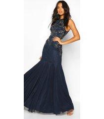 handversierde halter maxi-jurk voor bruidsmeisjes, marineblauw