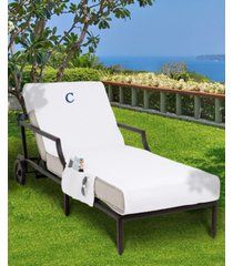 linum home personalized 100% turkish cotton chaise lounge cover with side pockets bedding