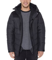 halifax men's big & tall water-resistant quilted colorblocked hooded ski jacket