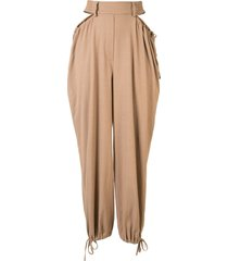 dion lee gathered tie tapered trousers - brown