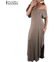 zanzea mujeres con cuello en v con hombros largo vestido de tubo liso partido gowm kaftan -beige