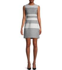 toccin women's sleeveless striped sheath dress - jet optic - size 2