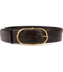 dolce & gabbana dark brown python leather belt