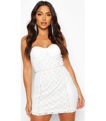 mini jurk met ruitjes en pailetten, wit