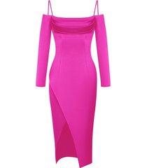 pink cold shoulder satin dress