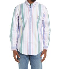 polo ralph lauren men's classic fit stripe button-down shirt, size xx-large in white green multi at nordstrom