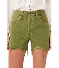 women's free people makai ripped cutoff denim shorts, size 31 - green