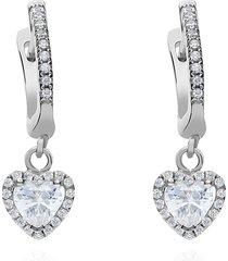 orecchini a cerchio in argento rodiato e ciondolo cuore con zirconi per donna