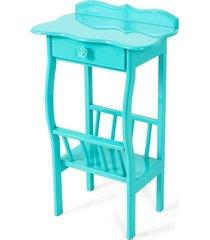 mesa lateral apoio sala revisteiro azul turquesa - azul - dafiti