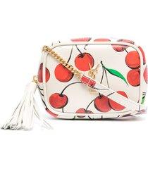 saint laurent cherry-print logo-plaque crossbody bag - neutrals