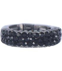 anel armazem rr bijoux cristais pretos grafite - incolor - feminino - dafiti