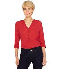 blusa  con mangas remangables rojo esprit
