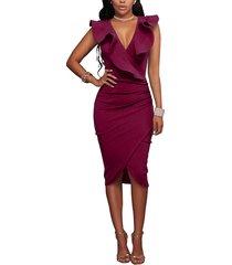burgundy crossed front design zip side ruffle v-neck midi dress