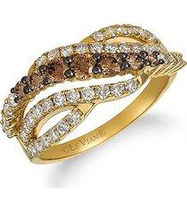 le vian women's 14k honey gold™, chocolate ombré diamond® & nude diamond™ ring - size 7