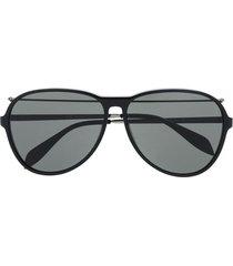 alexander mcqueen eyewear piercing pilot aviator-frame sunglasses -