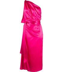 dolce & gabbana one-shoulder silk dress - pink