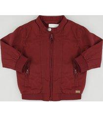 jaqueta bomber infantil com bolsos vinho