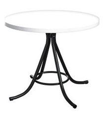 mesa de jantar redonda phoenix branca e preta 90 cm